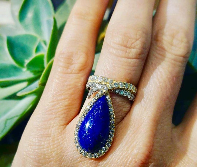AnaKatarina One-of-a-Kind Vintage Lapis, Yellow and White Gold and Diamond Ring In New Condition For Sale In Dedham, MA