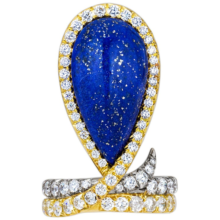 AnaKatarina One-of-a-Kind Vintage Lapis, Yellow and White Gold and Diamond Ring For Sale