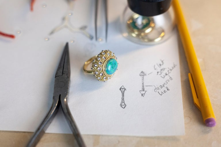 AnaKatarina Opal, Yellow Gold, and Diamond 'Beyond the Sea' Ring In New Condition For Sale In Dedham, MA