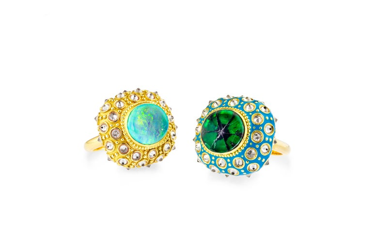AnaKatarina Opal, Yellow Gold, and Diamond 'Beyond the Sea' Ring For Sale 2