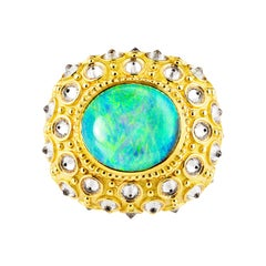 AnaKatarina Opal, Yellow Gold, and Diamond 'Beyond the Sea' Ring