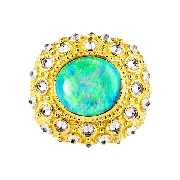 AnaKatarina Opal, Yellow Gold, and Diamond 'Beyond the Sea' Ring For Sale