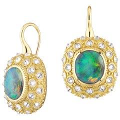 AnaKatarina Opal, Yellow Gold and Diamond Sea Urchin 'Beyond the Sea' Earrings