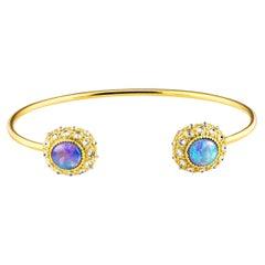 AnaKatarina Opal, Yellow Gold and Diamond Sea Urchin Cuff