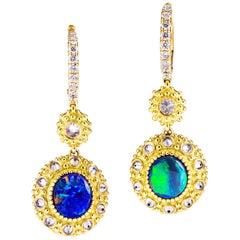 Anakatarina Opal, Yellow Gold and Diamond Sea Urchin Earrings