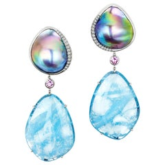 AnaKatarina Pearl, Aquamarine, White Gold, Pink Sapphire and diamond Earrings