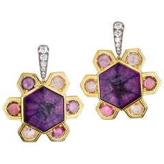 AnaKatarina Trapiche Ruby, Sapphire, Diamond and 18K Gold Earrings