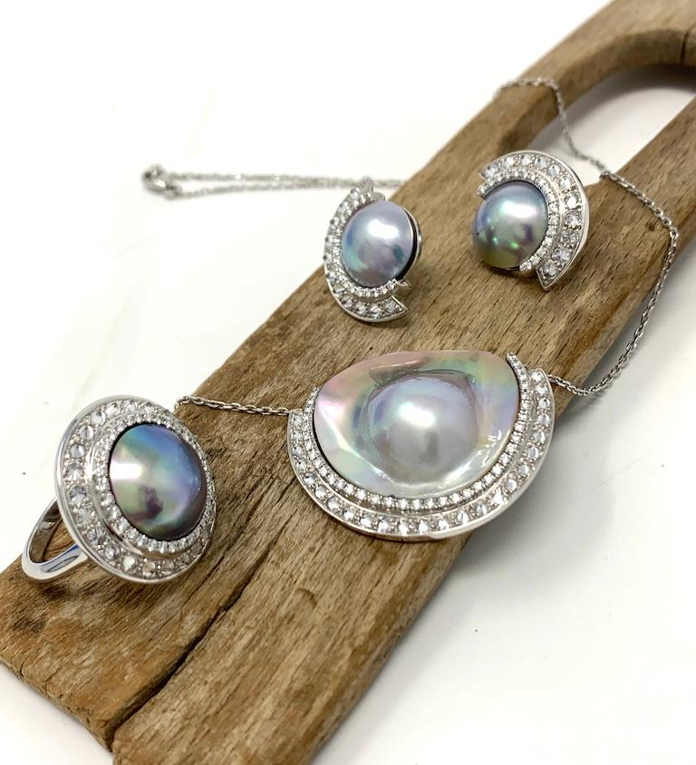 AnaKatarina Sea of Cortez Peacock Pearl, Diamond, and White Gold Earrings For Sale 1