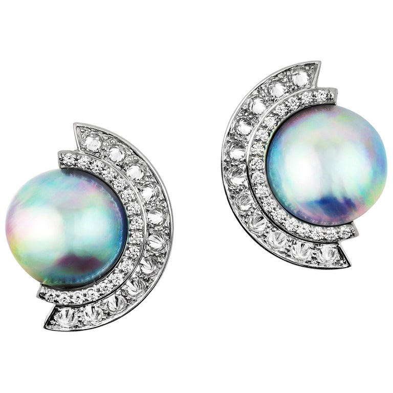 AnaKatarina Sea of Cortez Peacock Pearl, Diamond, and White Gold Earrings For Sale