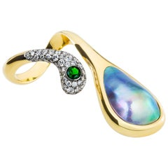 AnaKatarina Sea of Cortez Peacock Pearl, Yellow Gold, Diamonds, & Tsavorite Ring