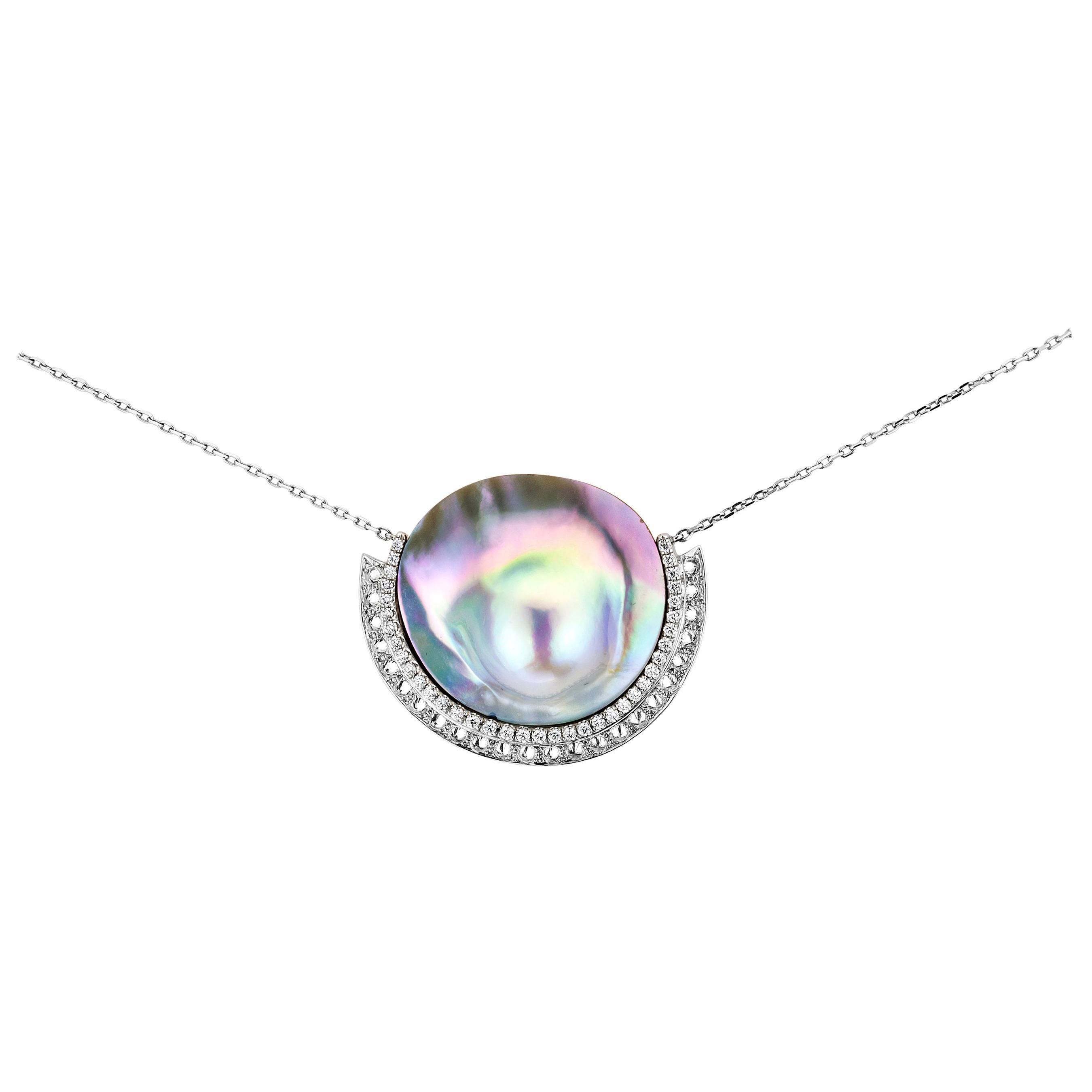 AnaKatarina Sea of Cortez Peacock Pearl and Diamond White Gold Necklace