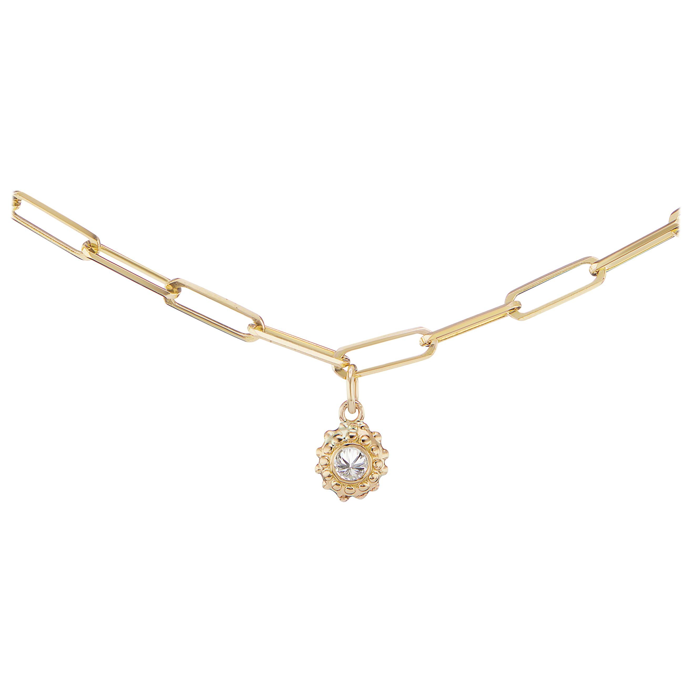 AnaKatarina Yellow Gold and Diamond Sea Urchin Chain Necklace