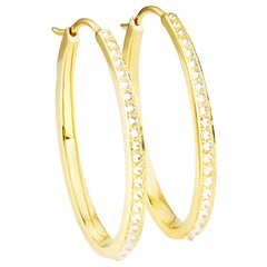 AnaKatarina Yellow Gold and Diamonds Hoop Earrings