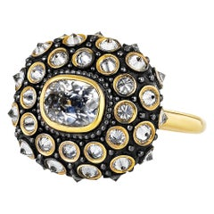 AnaKatarina Yellow Gold, Black Rhodium, Antique Cushion Cut Diamond Ring