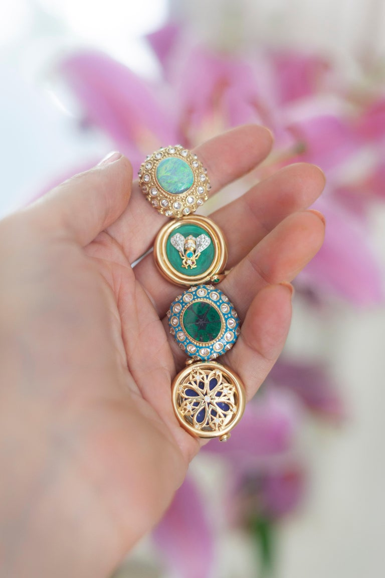 AnaKatarina Yellow Gold, Turquoise Enamel, Trapiche Emerald and Diamond Ring For Sale 5
