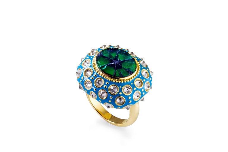 ONE-OF-A-KIND  AnaKatarina's 'Straight No Chaser' 'Ring is an homage to the beautiful sea urchin and its totem of intuition and evolution. This beautiful work of art is one-of-a-kind. A rare Trapaiche emerald adorns the center of the sea urchin