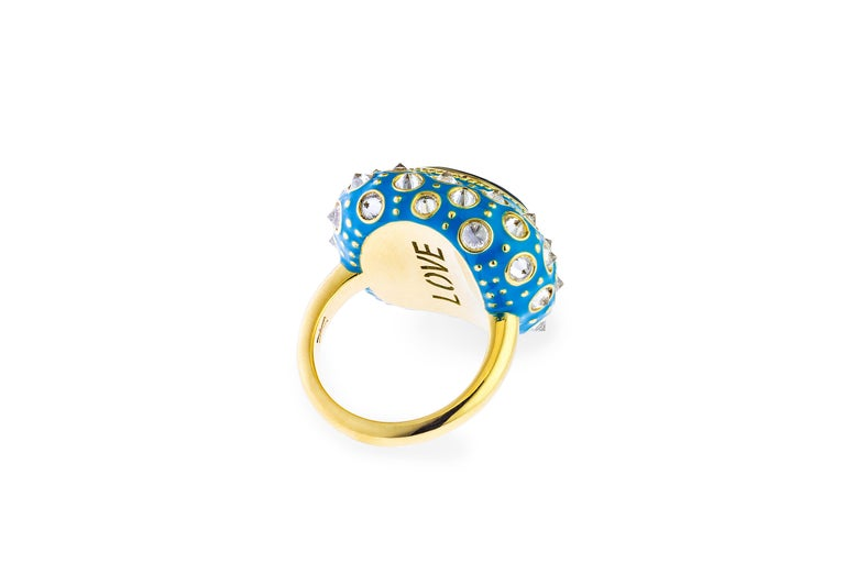 Contemporary AnaKatarina Yellow Gold, Turquoise Enamel, Trapiche Emerald and Diamond Ring For Sale