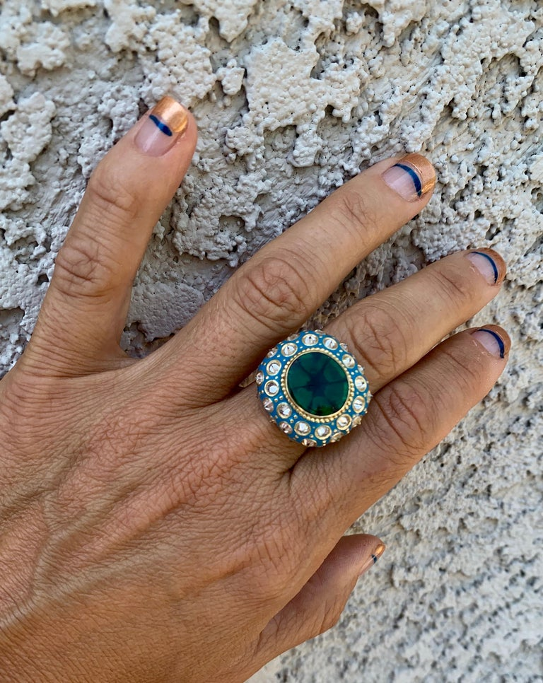 Round Cut AnaKatarina Yellow Gold, Turquoise Enamel, Trapiche Emerald and Diamond Ring For Sale