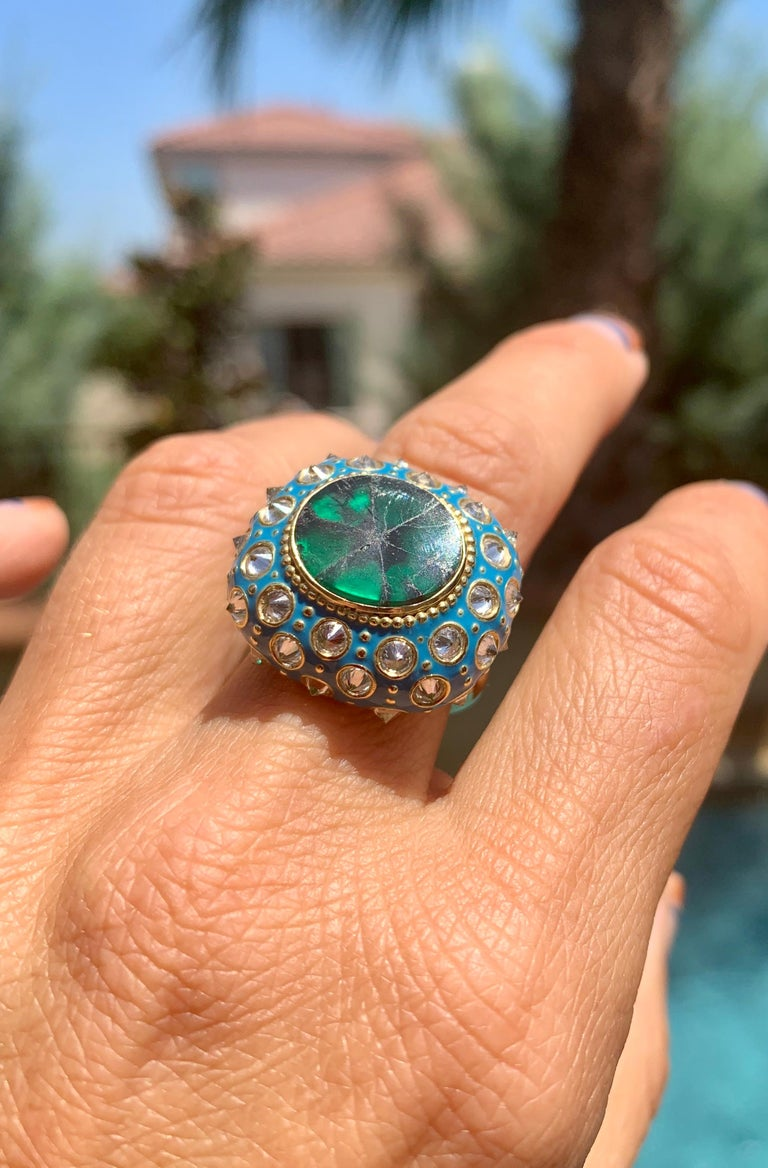 AnaKatarina Yellow Gold, Turquoise Enamel, Trapiche Emerald and Diamond Ring In New Condition For Sale In Dedham, MA