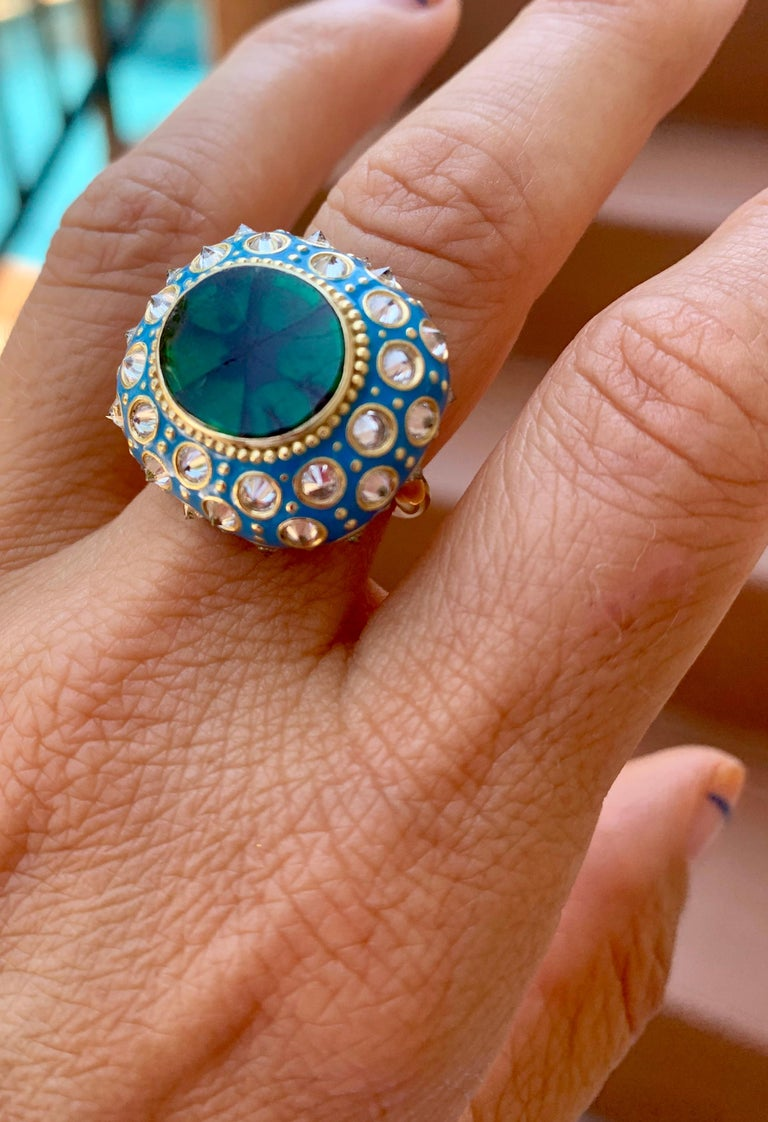 Women's AnaKatarina Yellow Gold, Turquoise Enamel, Trapiche Emerald and Diamond Ring For Sale