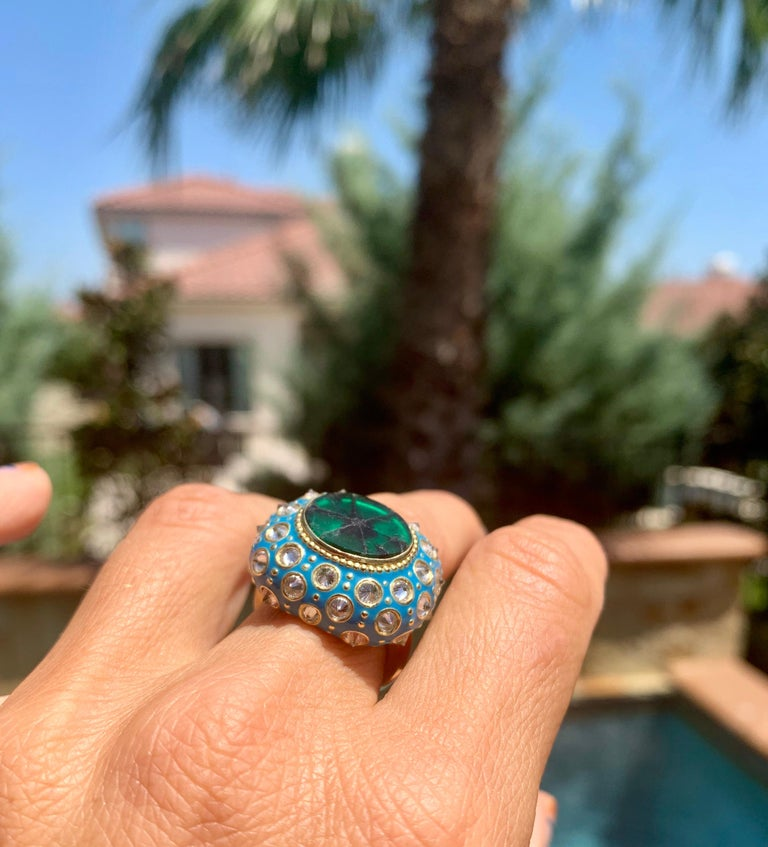 AnaKatarina Yellow Gold, Turquoise Enamel, Trapiche Emerald and Diamond Ring For Sale 1