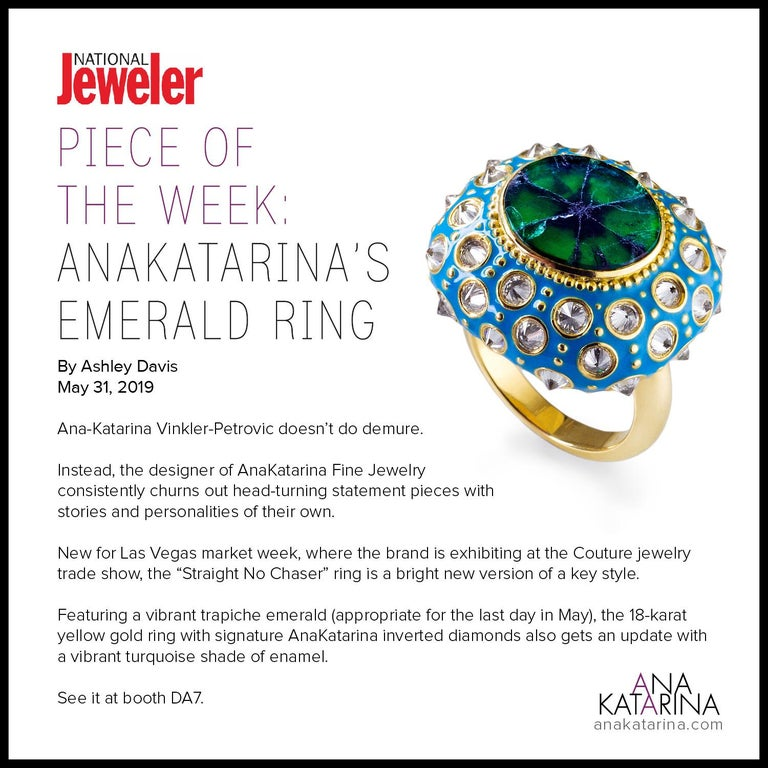 AnaKatarina Yellow Gold, Turquoise Enamel, Trapiche Emerald and Diamond Ring For Sale 2