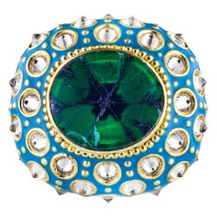 AnaKatarina Yellow Gold, Turquoise Enamel, Trapiche Emerald and Diamond Ring