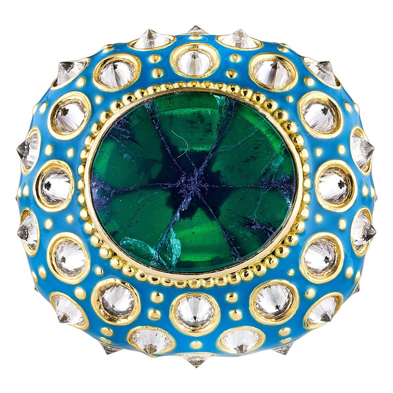 AnaKatarina Yellow Gold, Turquoise Enamel, Trapiche Emerald and Diamond Ring For Sale
