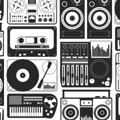 Analog Nights Designer Wallpaper in Charcoal 'Black and White'