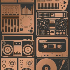 Analog Nights Screen Printed Wallpaper in Color Chromatic 'Copper on Soft Black'