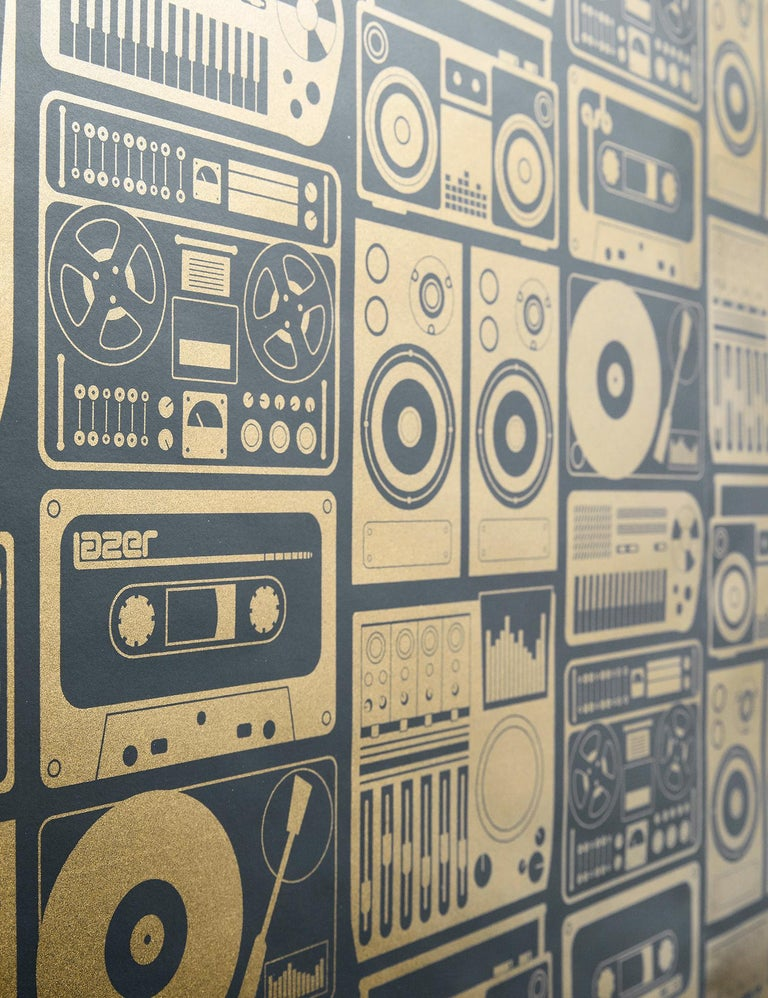 Modern Analog Nights Designer Screen Printed Wallpaper in Eclipse 'Gold and Soft Black' For Sale