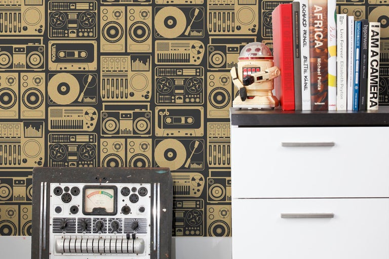 American Analog Nights Designer Screen Printed Wallpaper in Eclipse 'Gold and Soft Black' For Sale
