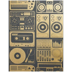 Analog Nights Screen Printed Wallpaper in Color Eclipse 'Gold on Soft Black'