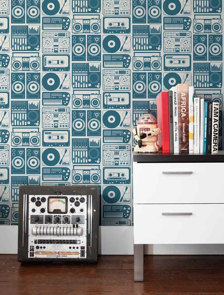 Analog Nights Type ii Eco-Friendly Wallpaper in Tahoe 'Dark Teal and Pale Grey' In New Condition For Sale In Brooklyn, NY