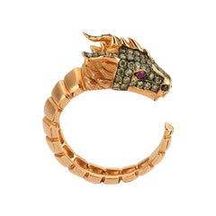 Ananta Sesha Large Head Ring in 14 Karat Rose Gold with Black Diamond
