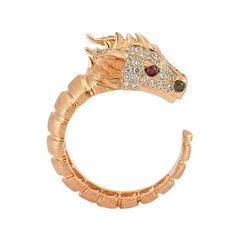 Ananta Sesha Large Head Ring in 14 Karat Rose Gold with White Diamond