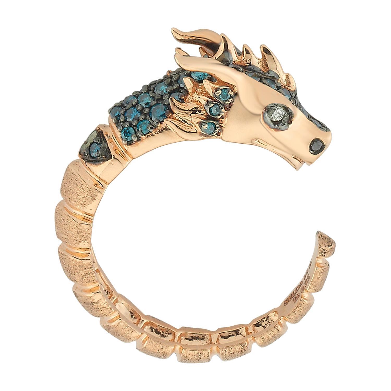Ananta Sesha Ring in 14 Karat Rose Gold with Blue & Black Diamond