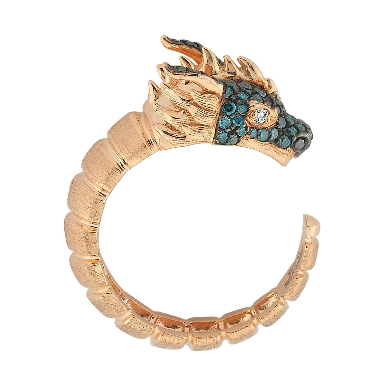 Ananta Sesha Ring in 14 Karat Rose Gold with Blue & White Diamond