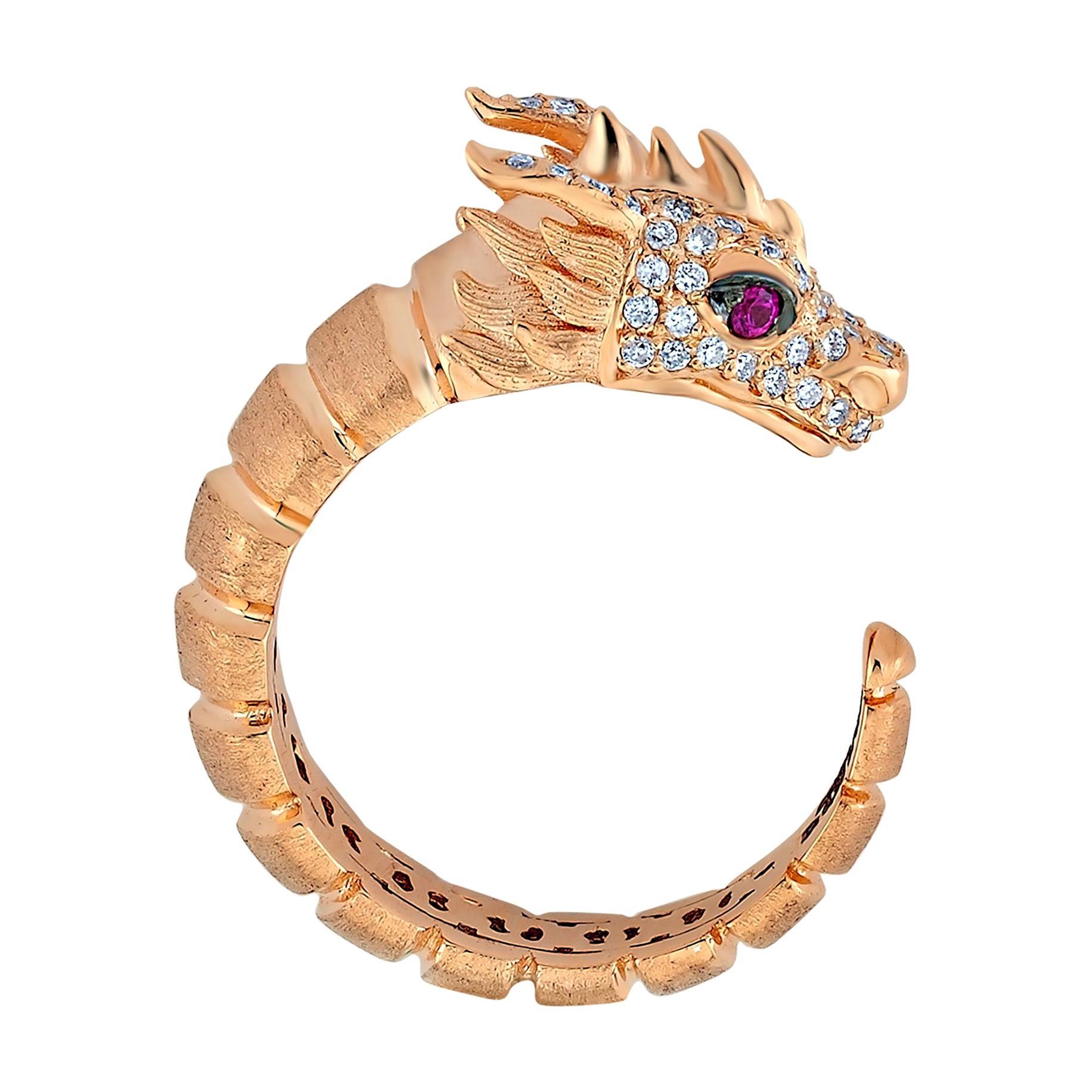 Ananta Sesha Ring in 14 Karat Rose Gold with White & Black Diamond