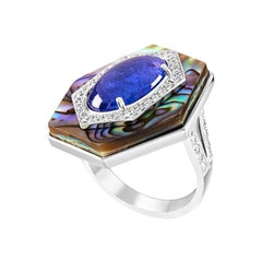 Ananya Celeste Ring Set with Abalone, Tanzanite and Diamonds