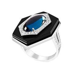 Ananya Celeste Ring Set with Topaz, Onyx and Diamonds