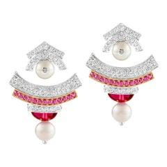 Ananya Ear Jacket Earrings Set with Pink Sapphires, Tourmaline and Diamonds