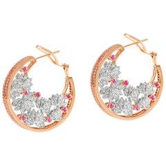 Ananya Lotus Samsara Earrings Set with Pink Sapphires and Diamonds