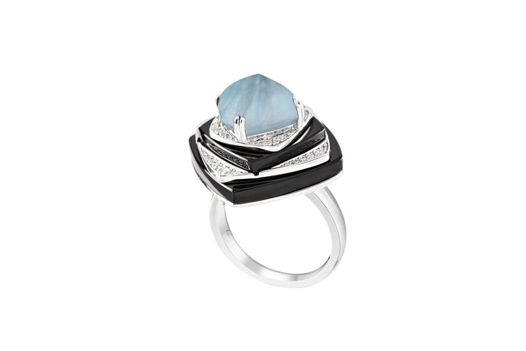 Ananya Nazar Ring set with Aquamarine, Onyx and Diamonds Set in 18K White gold  Total diamond weight: 0.23 ct Color: F-G Clarity: VVS1  Total aquamarine weight: 3.68 ct  Total black onyx weight: 16.29 ct  Diameter - 17mm