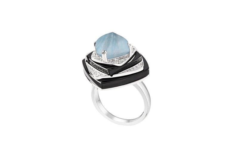 Modern Ananya Nazar Ring Set with Aquamarine, Onyx and Diamonds For Sale