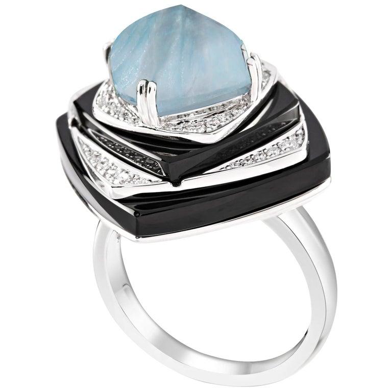 Ananya Nazar Ring Set with Aquamarine, Onyx and Diamonds For Sale