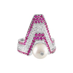 Ananya White Gold Balance Twin Ring set with a Pearl, Pink Sapphires and Diamond