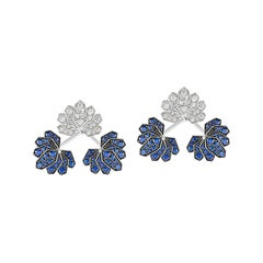 Ananya White Gold Lotus Ear Jacket Set with Blue Sapphires and Diamonds