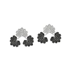 Ananya White Gold Lotus Ear Jacket Set with White and Black Diamonds
