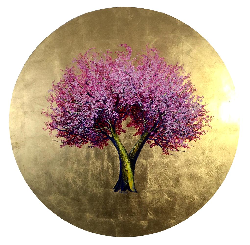 """A New Sun Will Warm Us"", Round oil and gold leaf, contemporary pink tree"